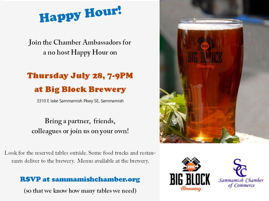 Happy Hour at Big Block Brewing July 28