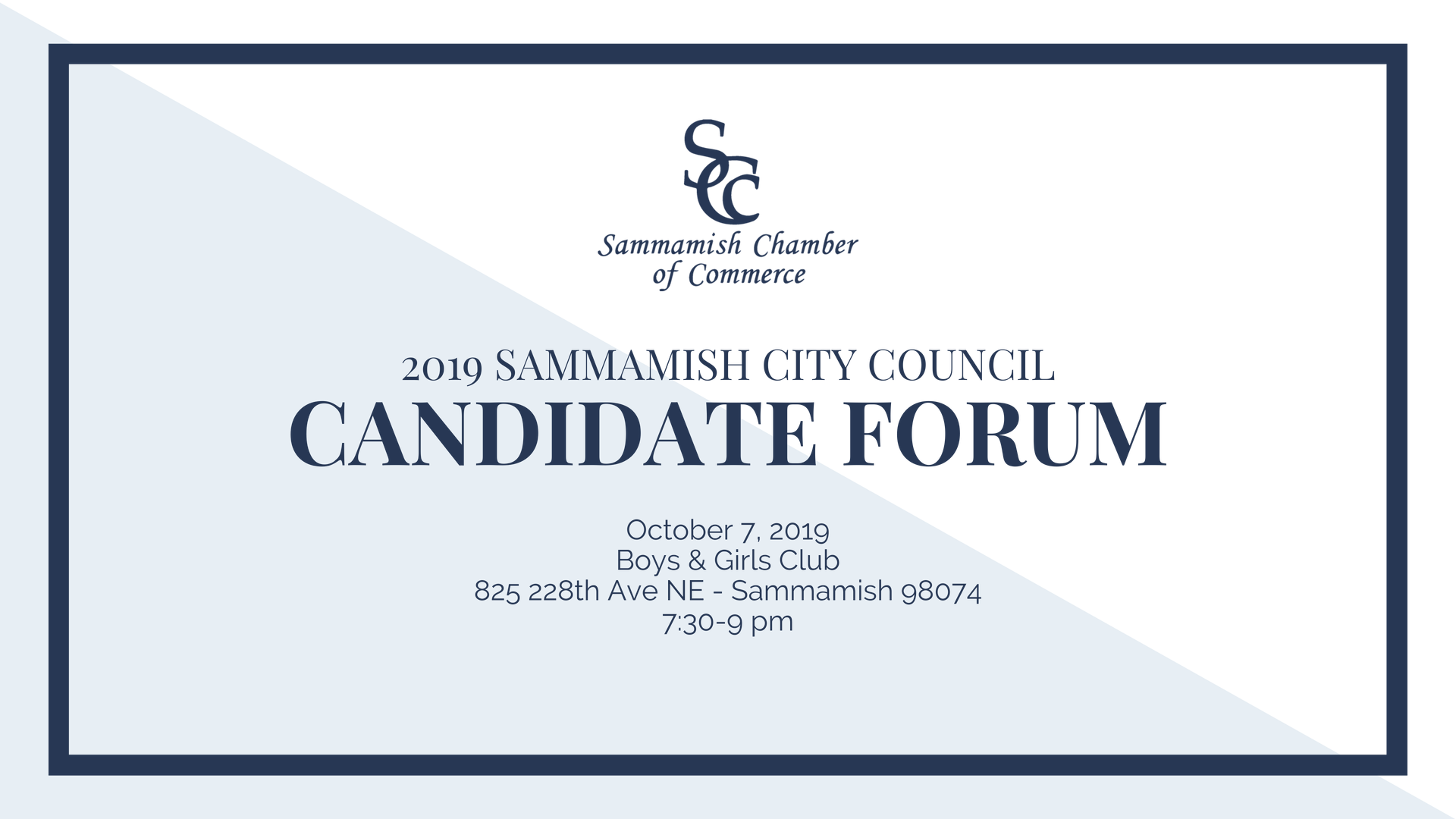 2019 Sammamish City Council Candidate Forum